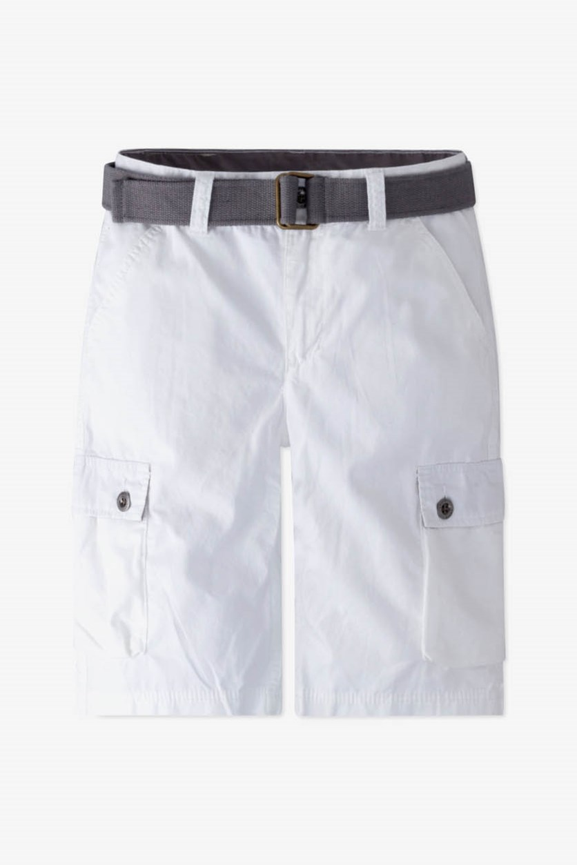 Toddler Boy's Belted Six-pocket Cargo Shorts, White