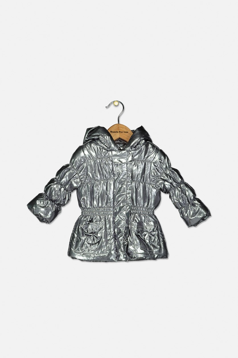 Baby Girls Metallic Hooded Jacket, Silver