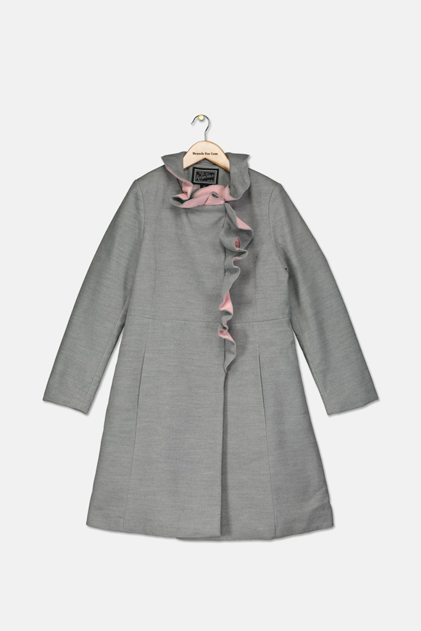 Big Girls Ruffle-Trim Coat, Grey