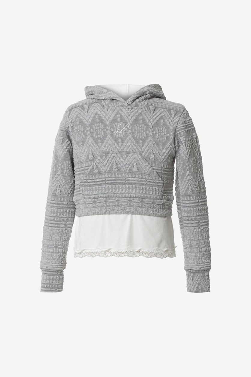 Girls Hooded Sweater, Grey