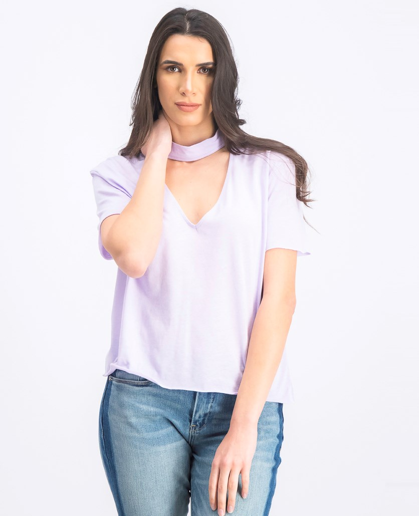 Women's V Cut Out Tee, Light Purple