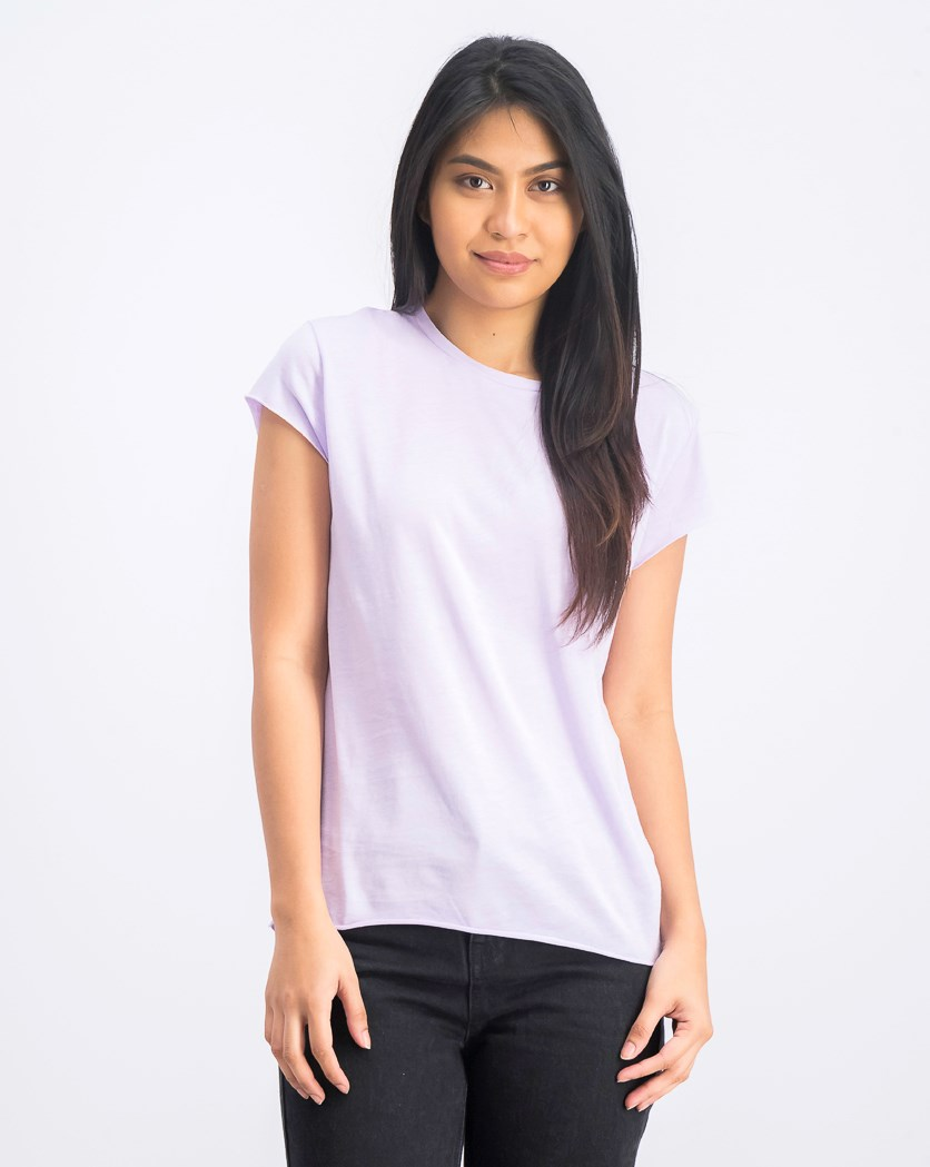 Women's Raw Edge Tee, Light Purple