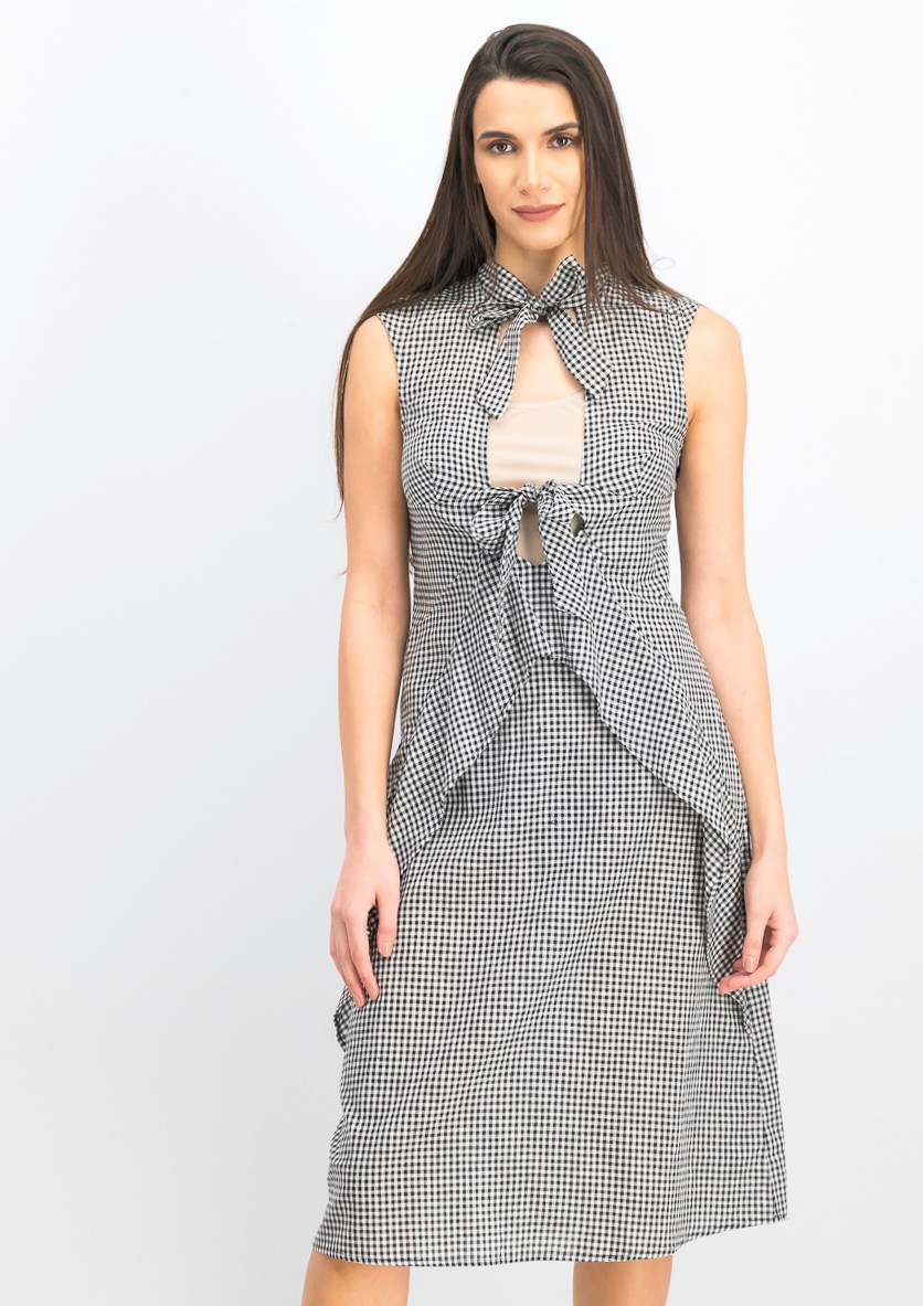 Women's Tied Detail Gingham Dress, Black/White