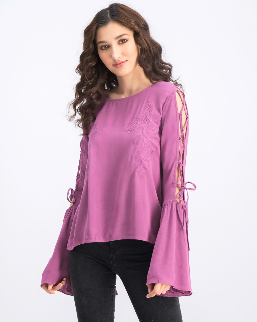 Women's Lacing Sleeve Embroidery Top, Dusty Purple