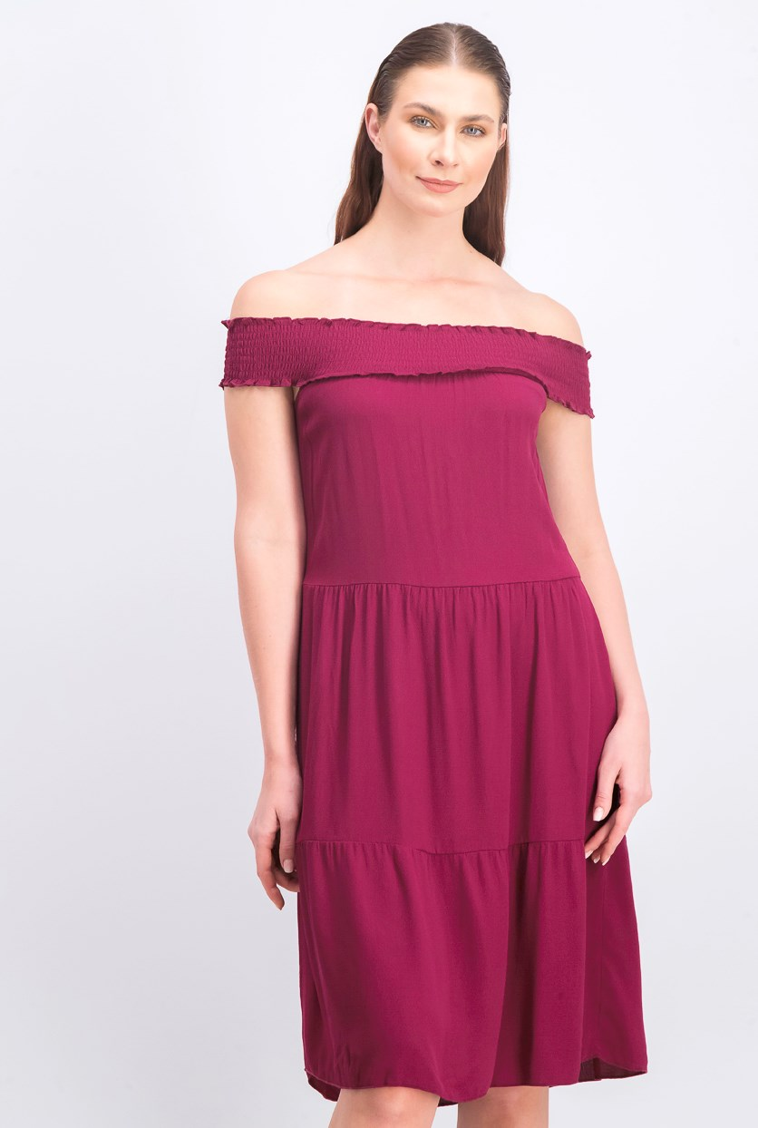 Women's Off Shoulder Crepe Midi Dress, Burgundy