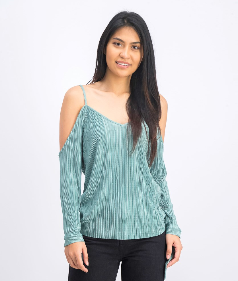 Women's Pleated Cold Shoulder Top, Duck Green