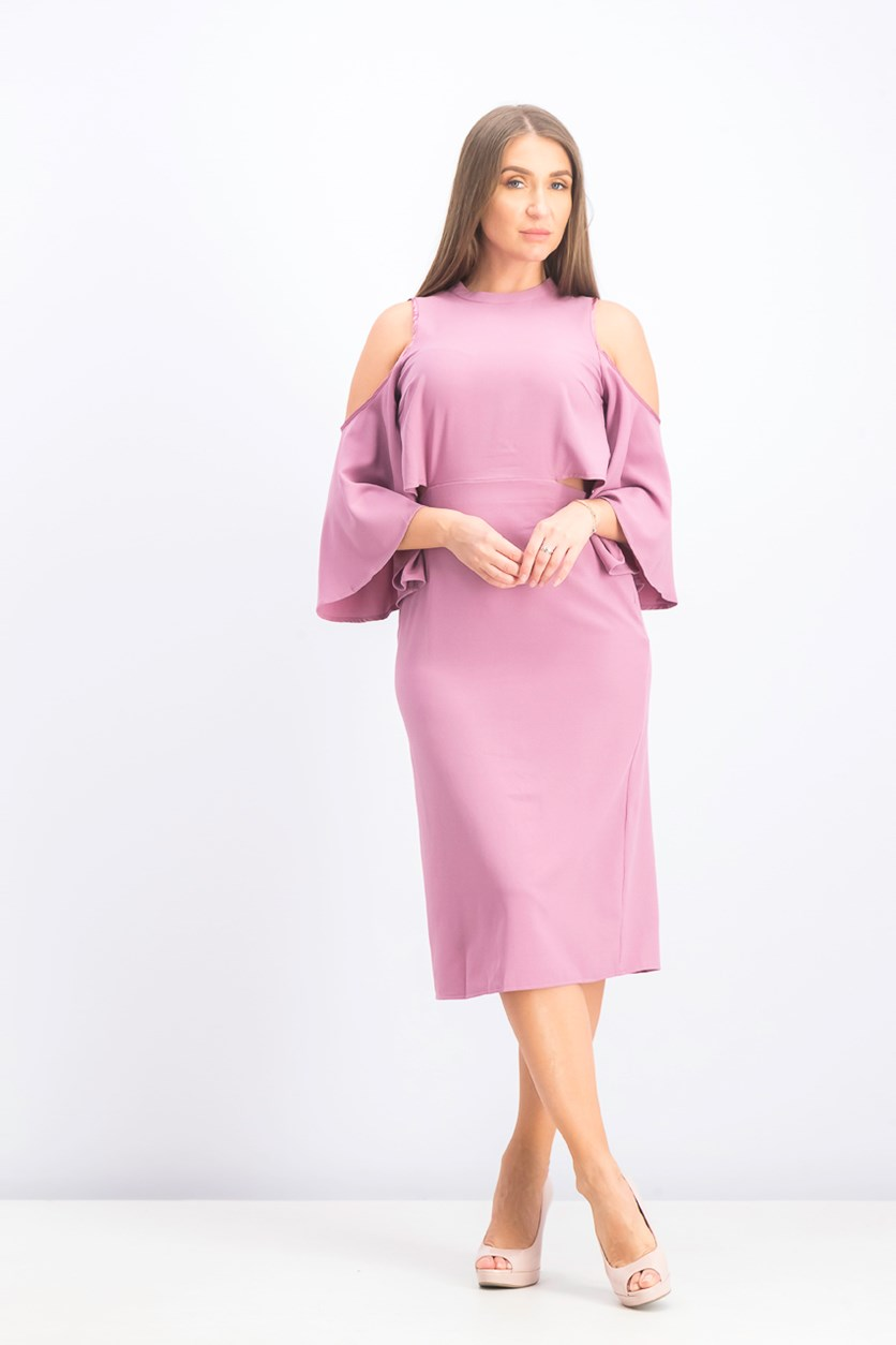 Women's Cut Out Neck Dress, Dusty Purple