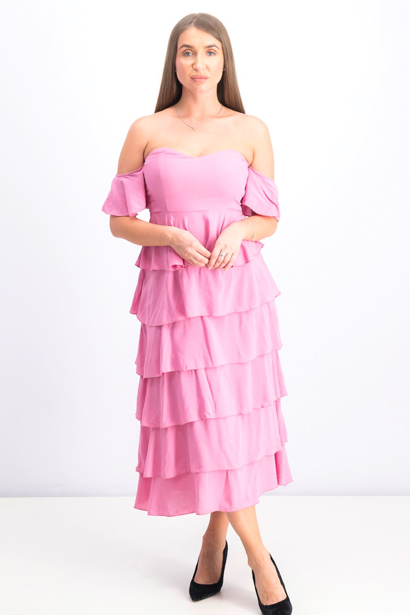 Women's Off Shoulder Flounce Dress, Ballet Pink