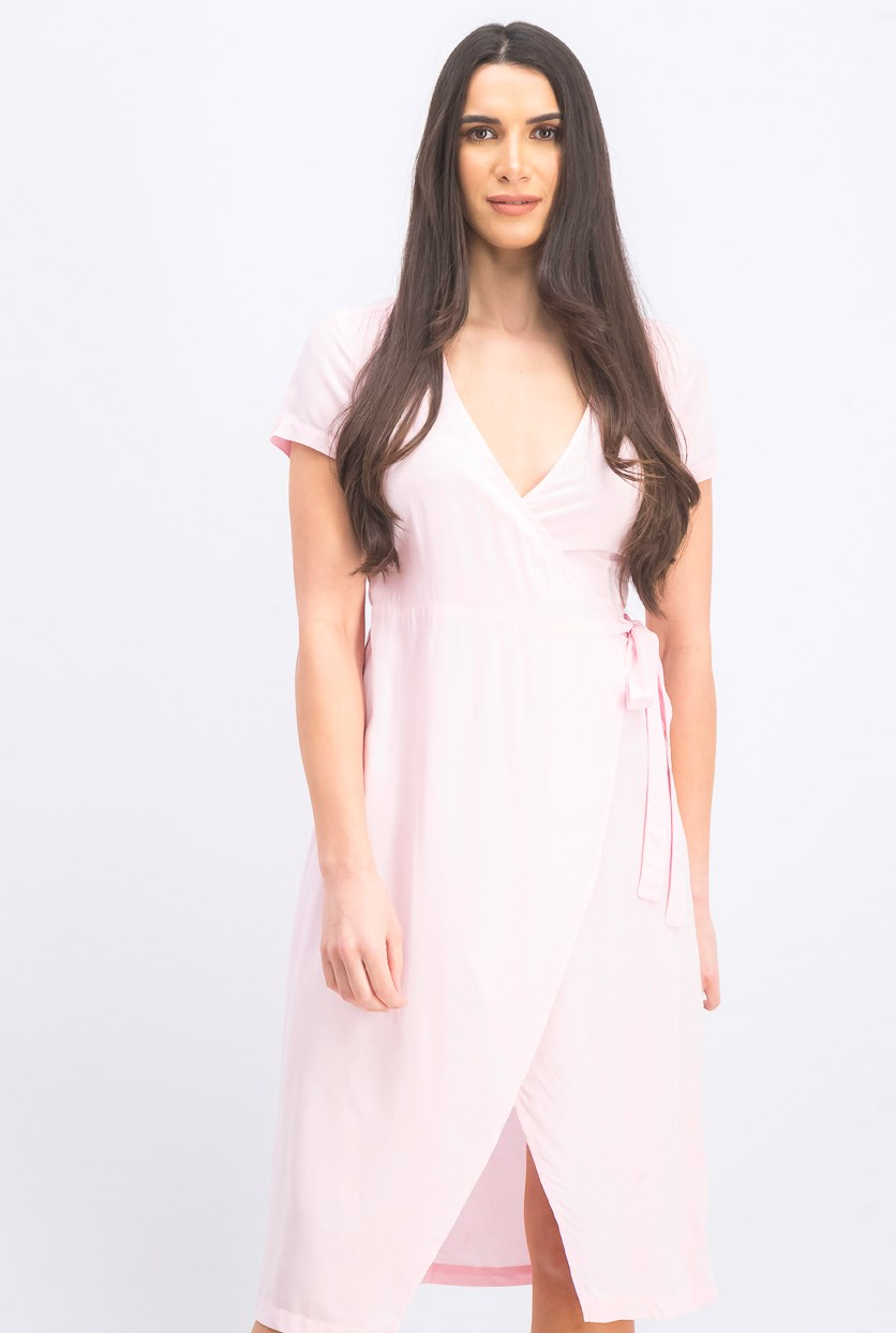 Women's V Neck Overlap Dress, Light Pink