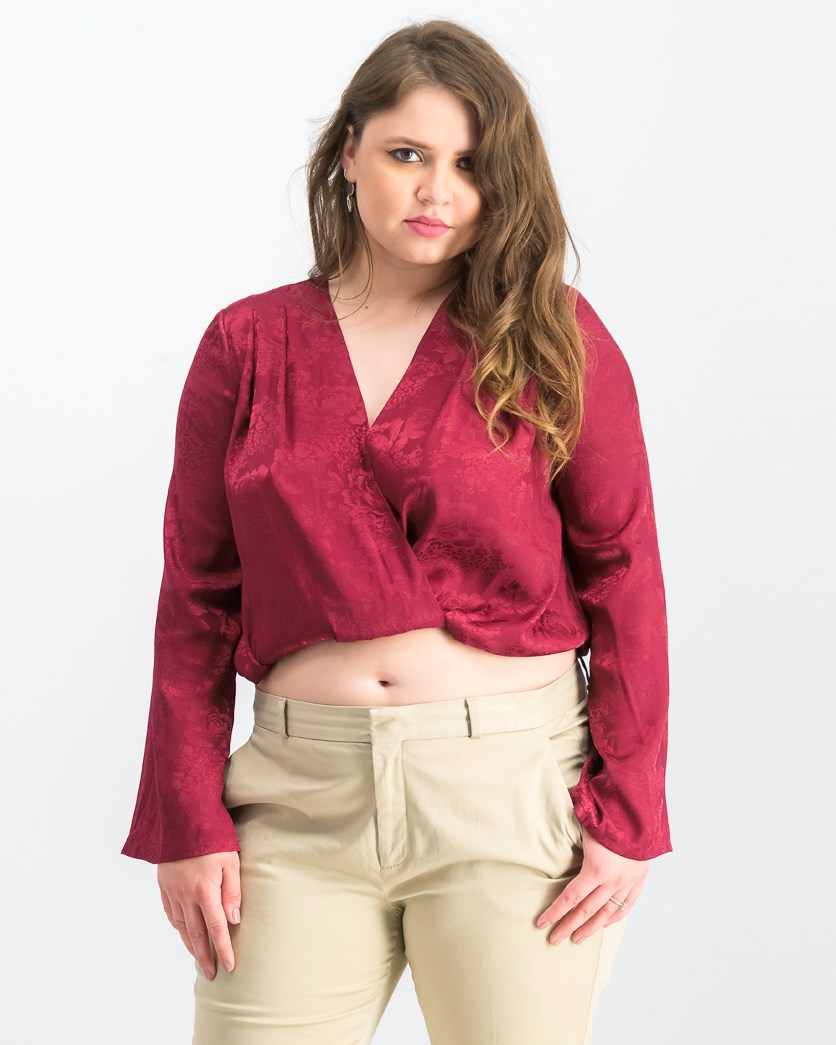 Women's Wrapped Jacquard Satin Top, Burgundy