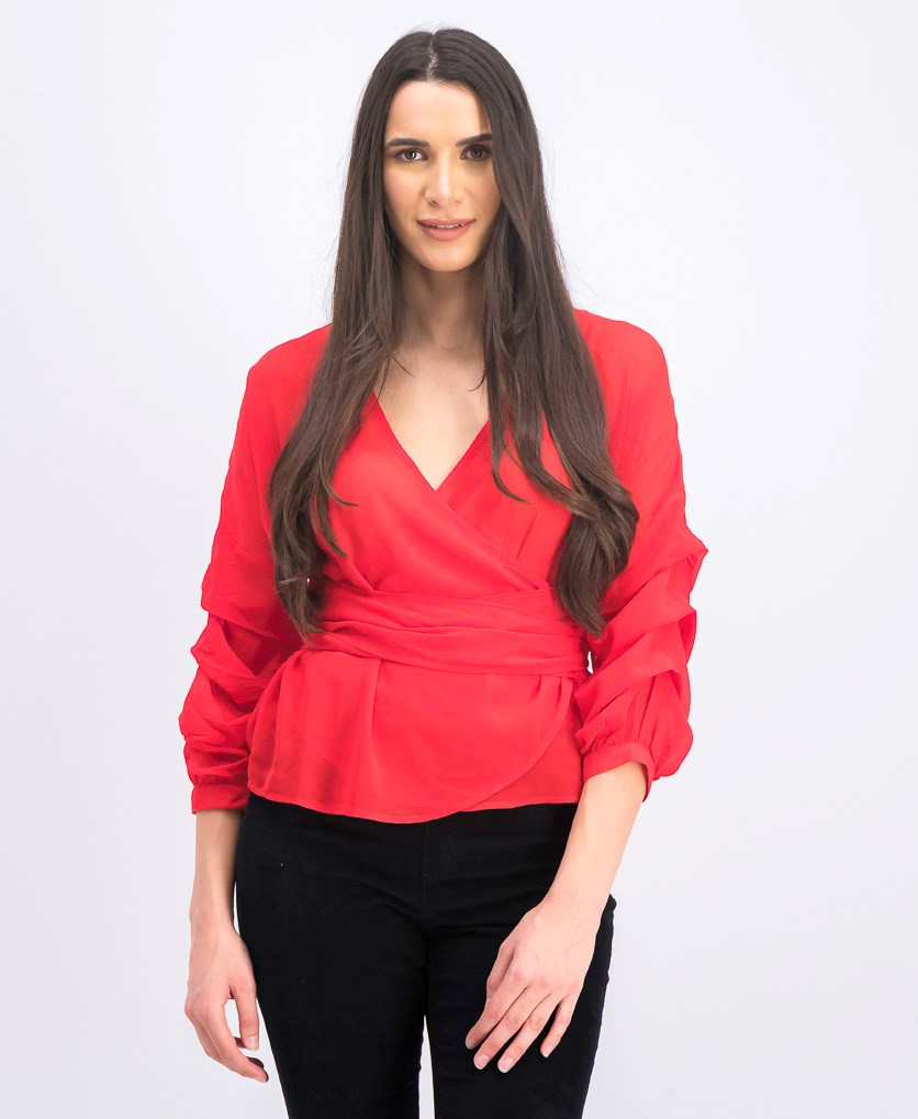 Women's Tied Waist Gathered Sleeve Blouse, Red