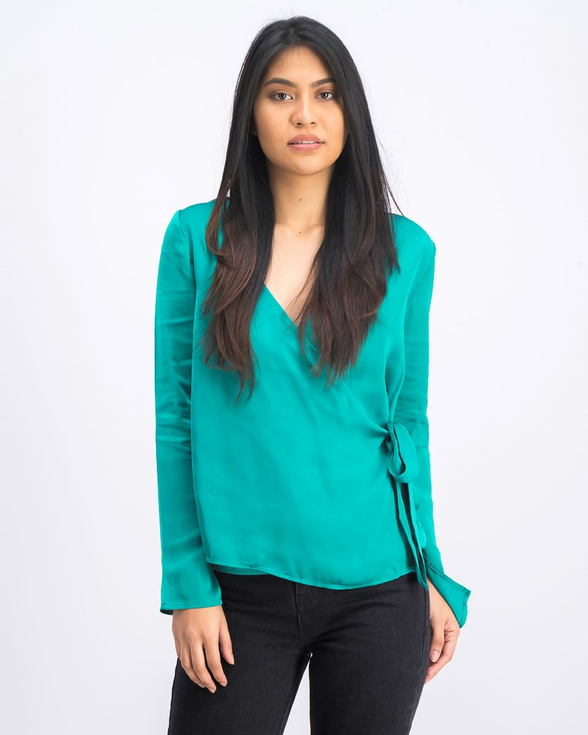 Women's Wrap Top, Basil Green