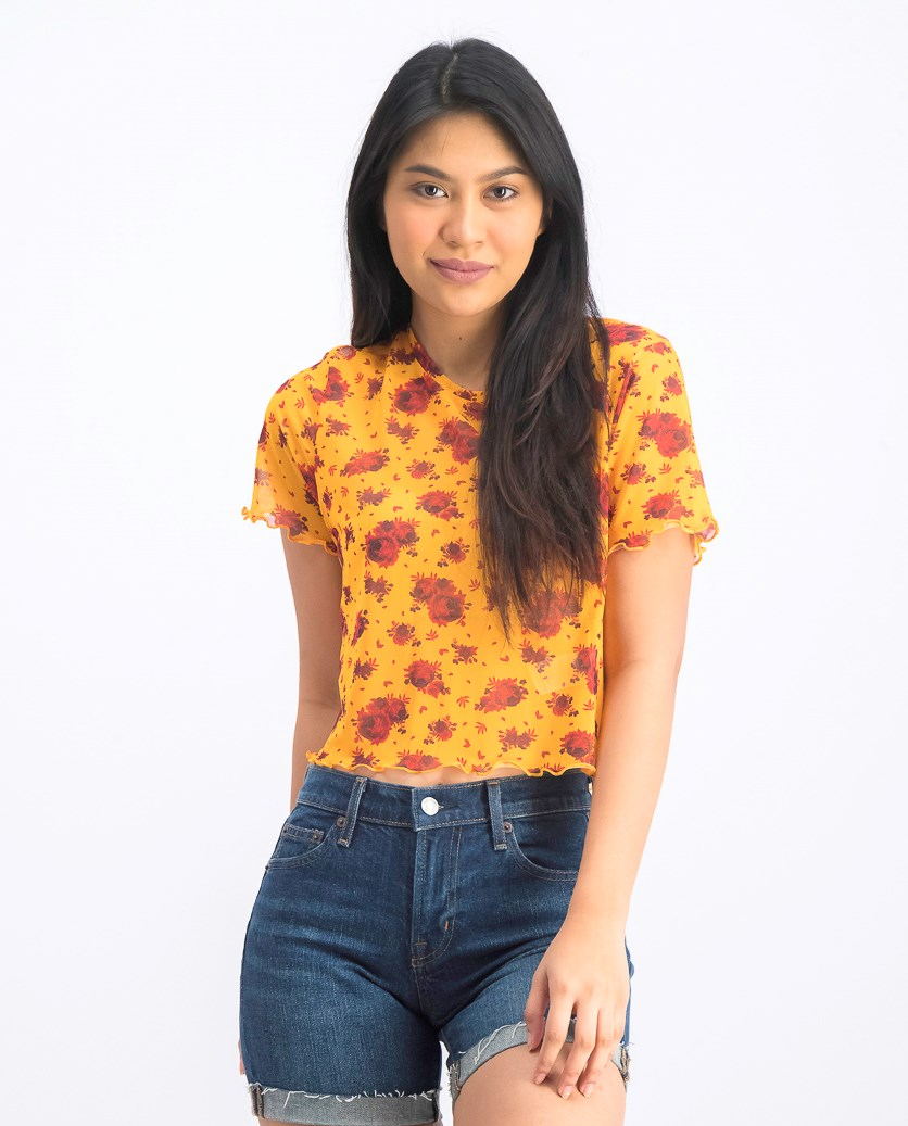 Women's Mesh Cropped Tee, Red/Yellow