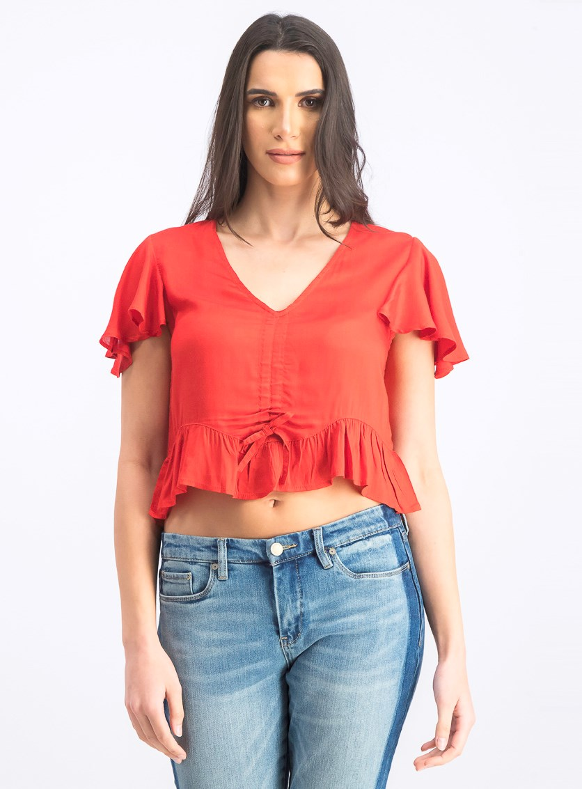 Women's Drawstring Bell Sleeve Blouse, Red