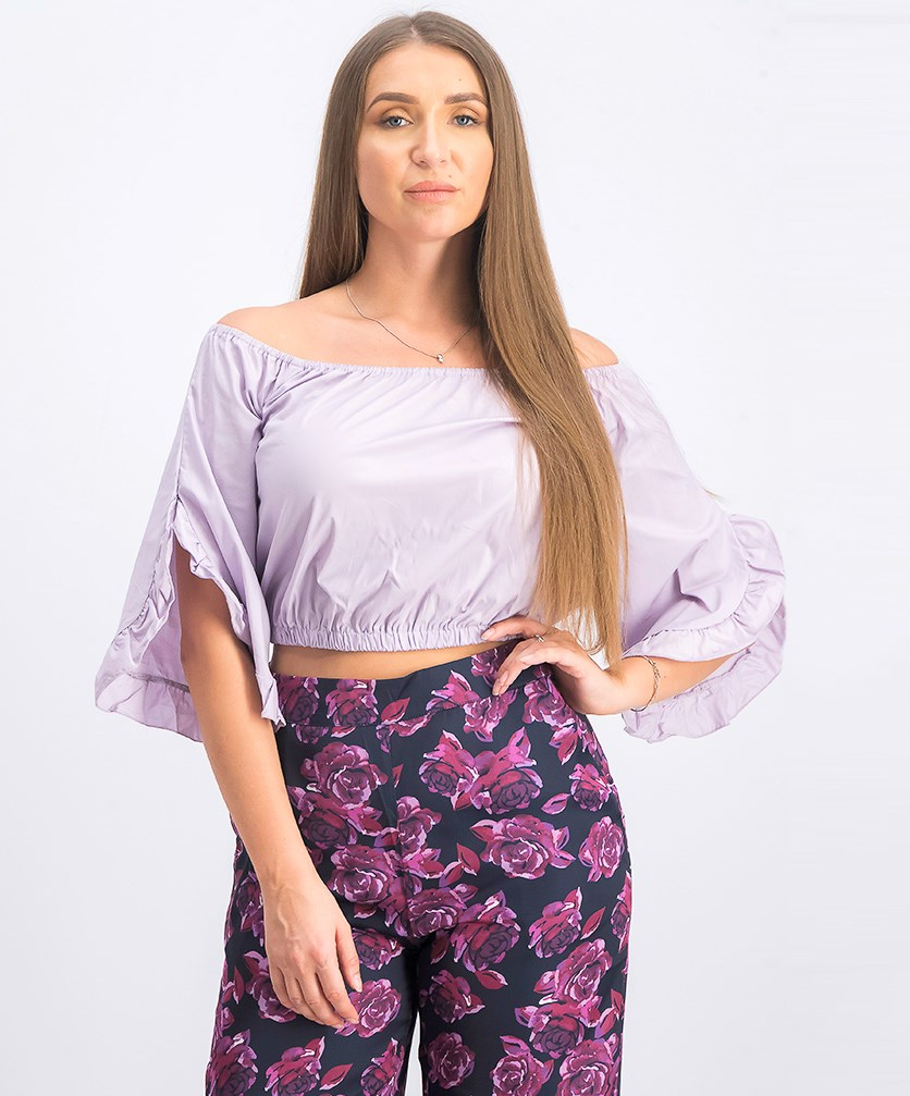 Women's Off Shoulder Flare Frill Top, Dusty Lilac