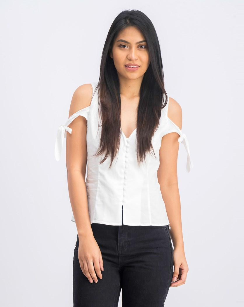 Women's Button Front Knot Detail Top, White