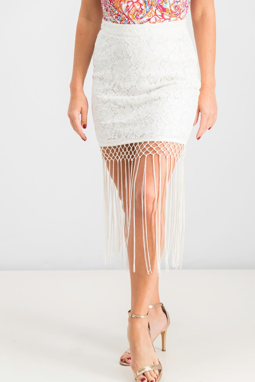Women's Fringe Lace Skirt, White