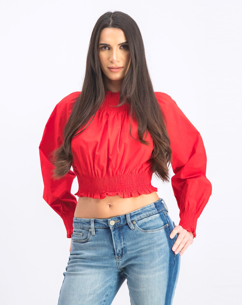 Women's Balloon Sleeve Blouse, Red