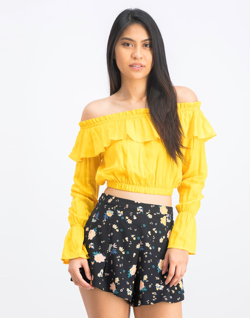 Women's Off Shoulder Flounce Blouse, Yellow