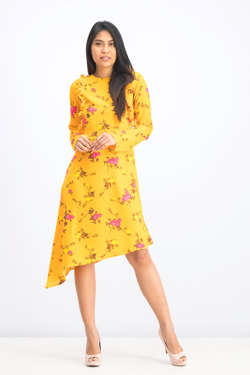 Women's Asymmetric Long Sleeve Frill Dress, Yellow Gold