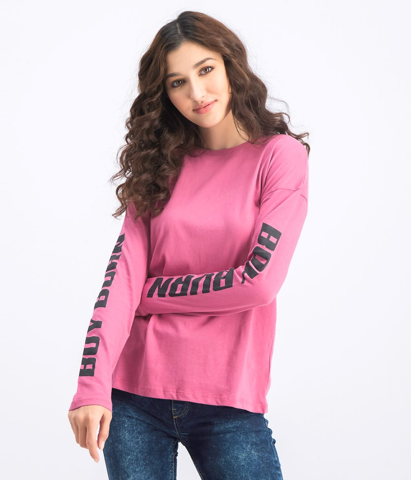 Women's Boy Burn Long Sleeve Top, Dark Blush