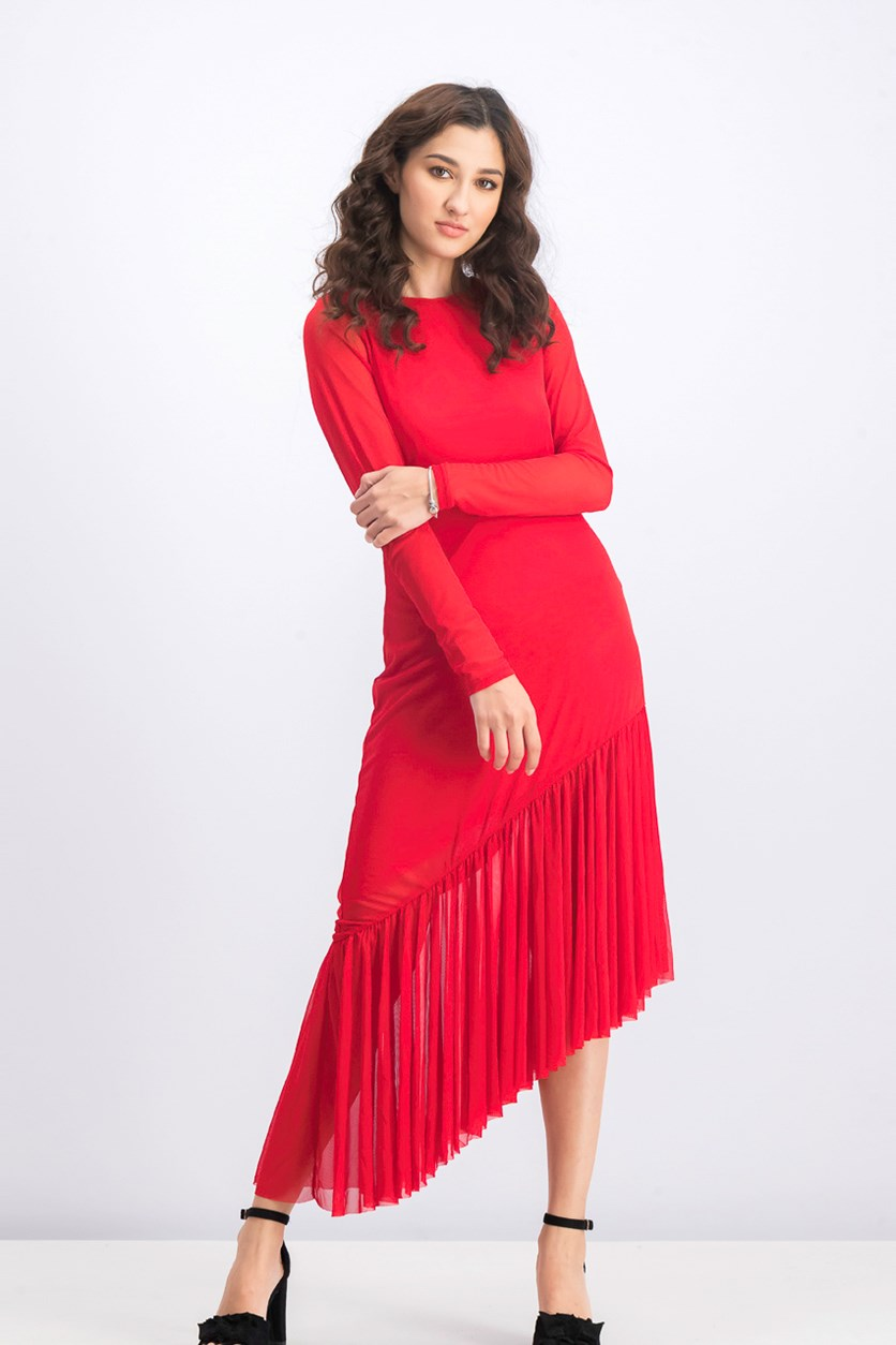 Women's Long Sleeve Mesh Dress, Red