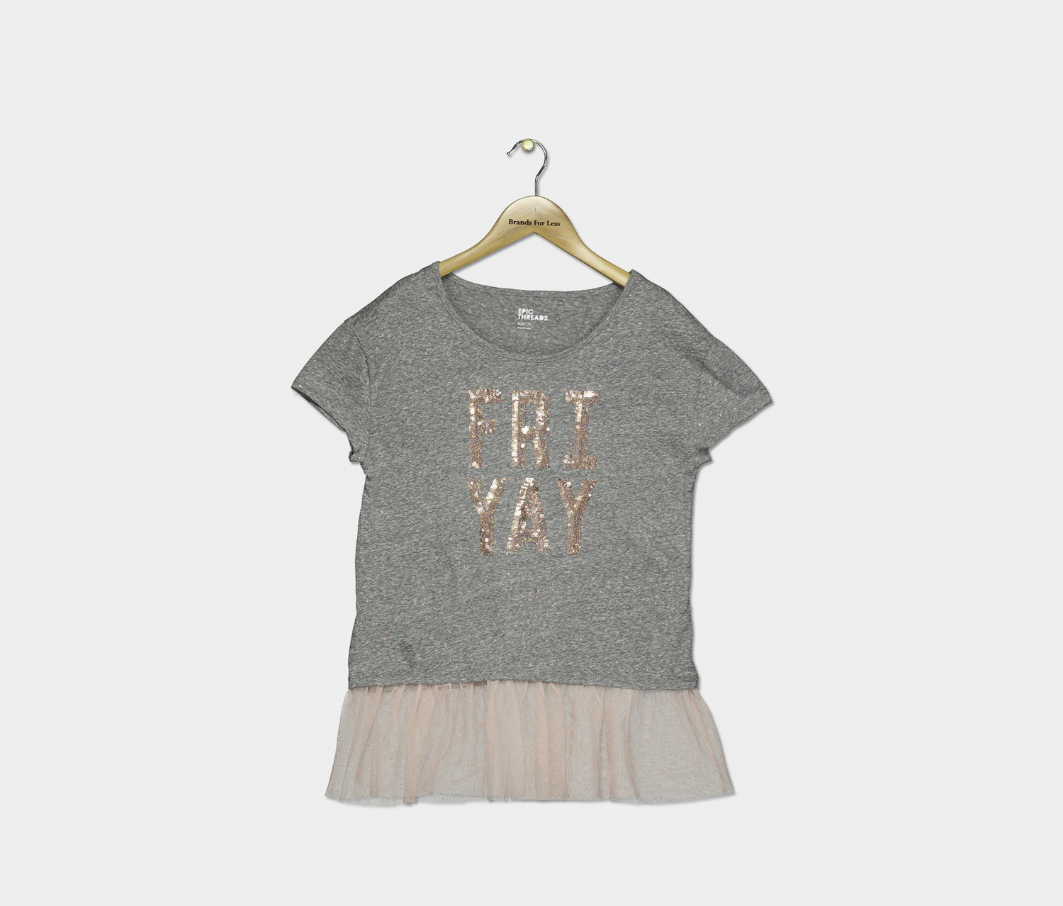 Big Girls Mesh-Inset Graphic Top, Grey