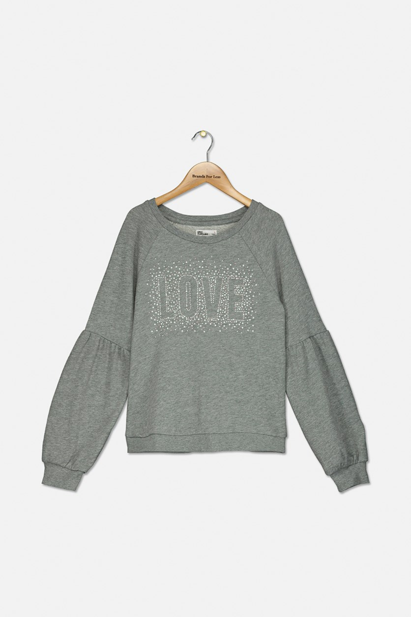 Girls Graphic Sweatshirt, Gray