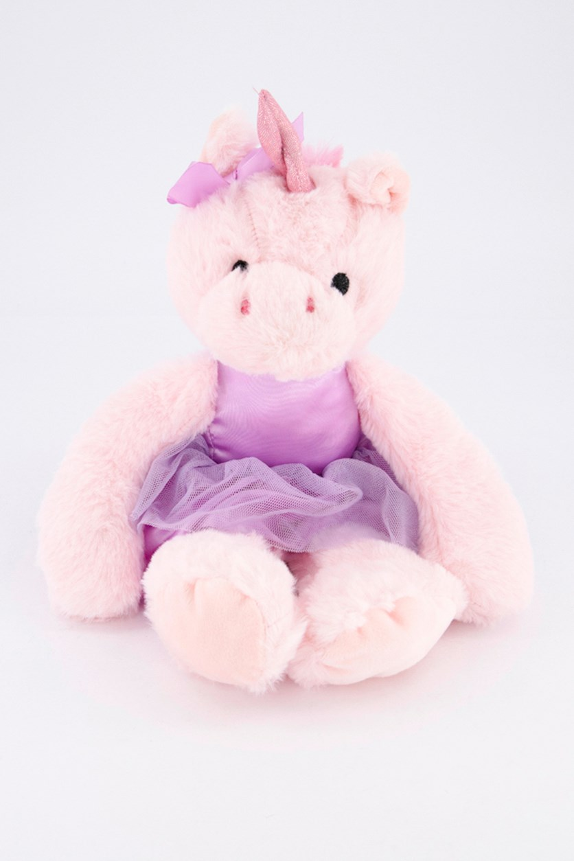 Ballerina Unicorn with Rattle Sound Plush Toy, Pink/Purple