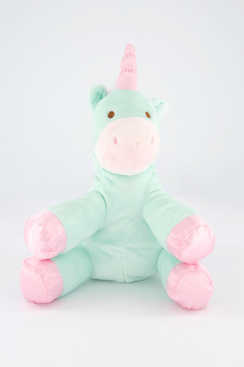 Baby Unicorn Plush With Crinkle & Rattle, Green/Pink