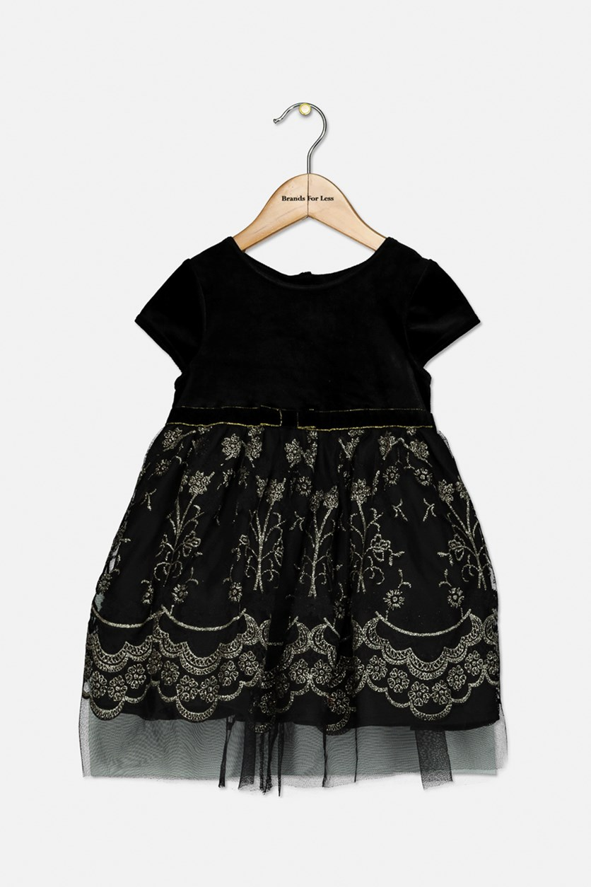 Little Girls Velvet Glitter Party Dress, Black