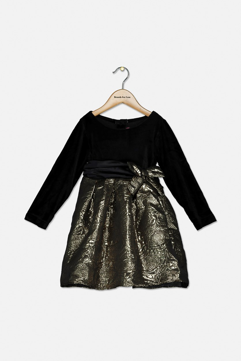 Toddler Girls Velvet Jacquard Party Dress, Black/Gold