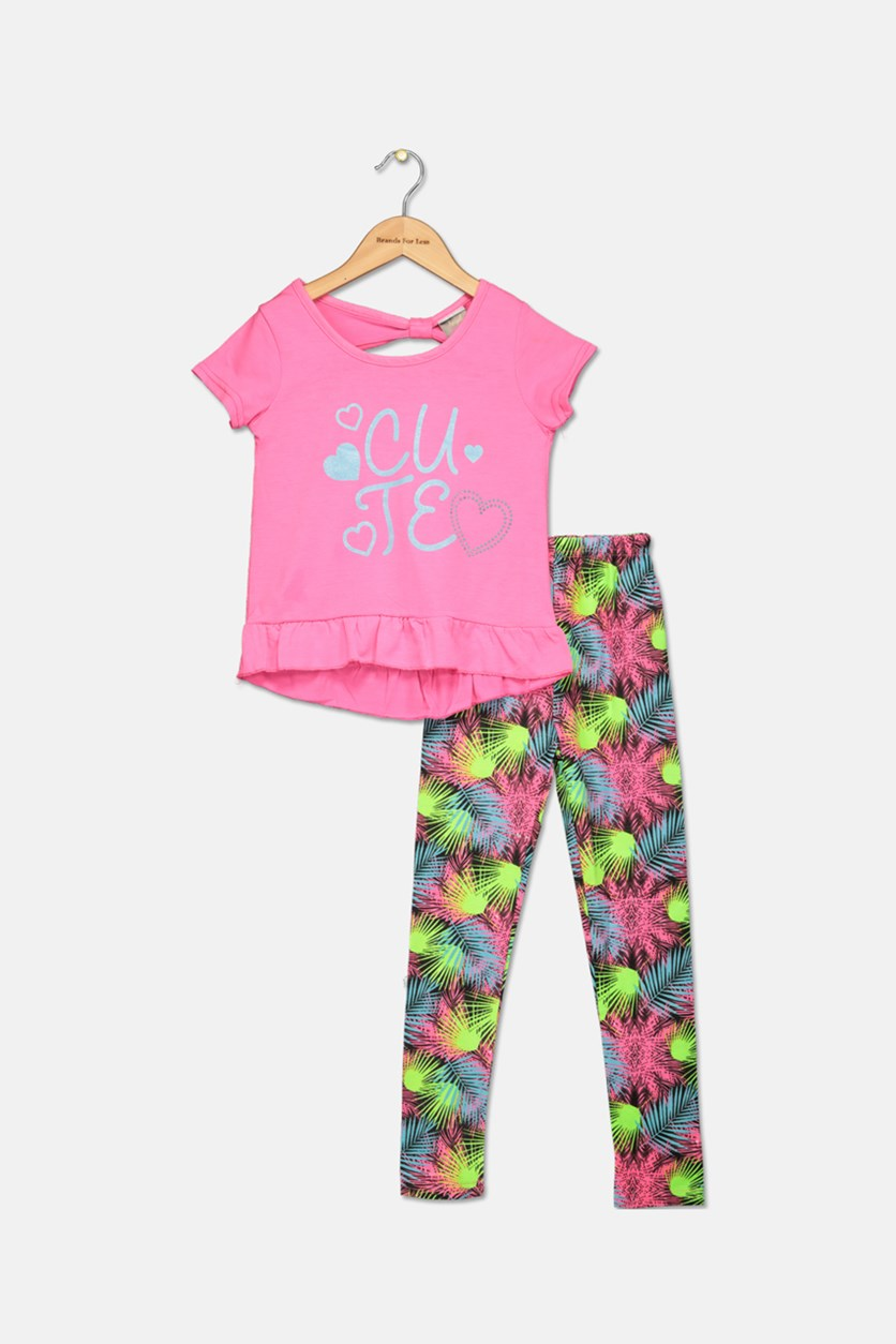 Little Girl's Fashion Top And Legging Set, Pink/Lime/Black