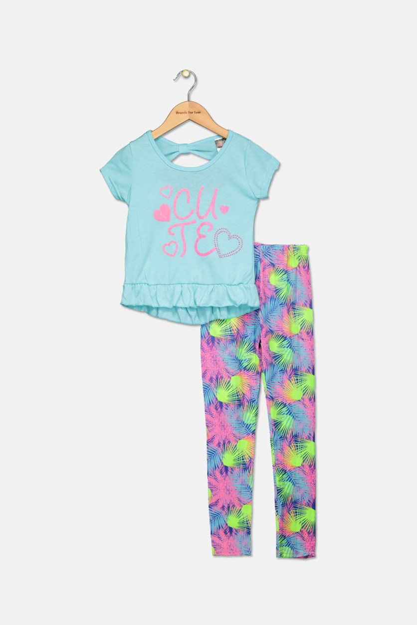 Little Girl's Fashion Top And Legging Set, Blue/Lime/Navy/Pink