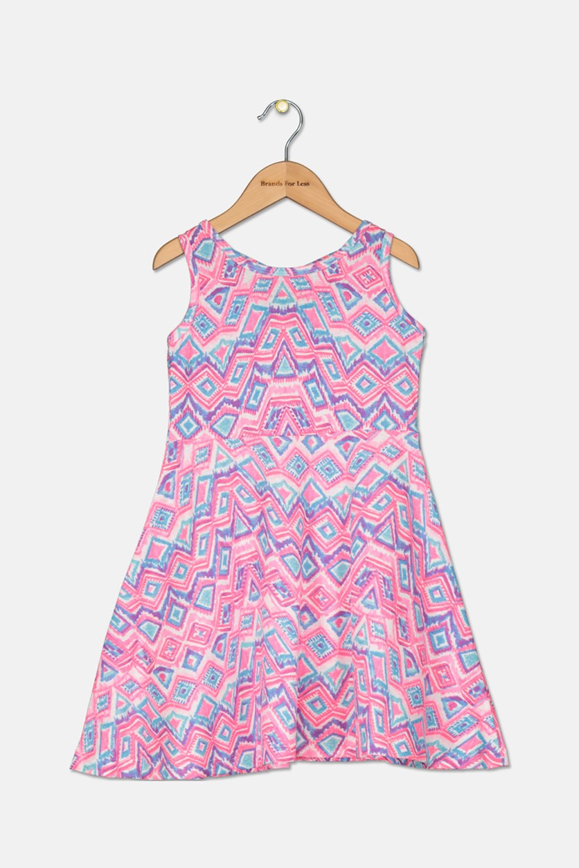 Girl's Printed Sleeveless Dress, Pink/Blue