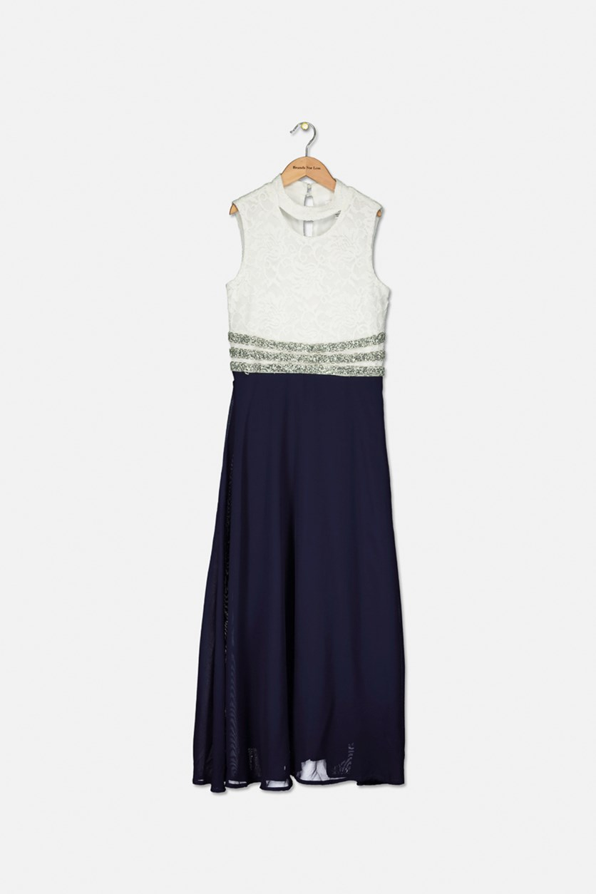 Girls Embellished-Waist Maxi Dress, Ivory/Navy