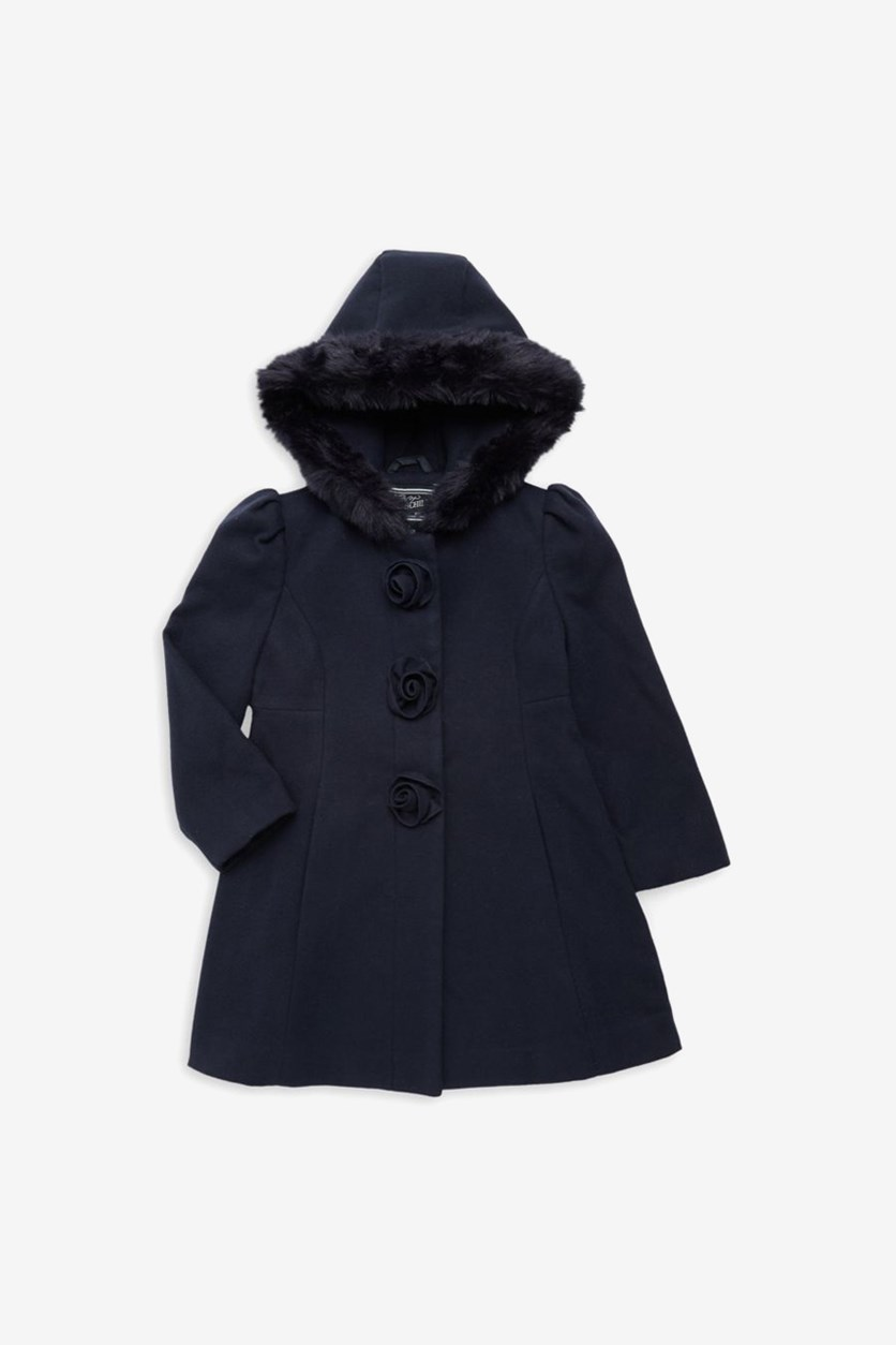 Big Girls Hooded Coat with Faux Fur Trim, Navy