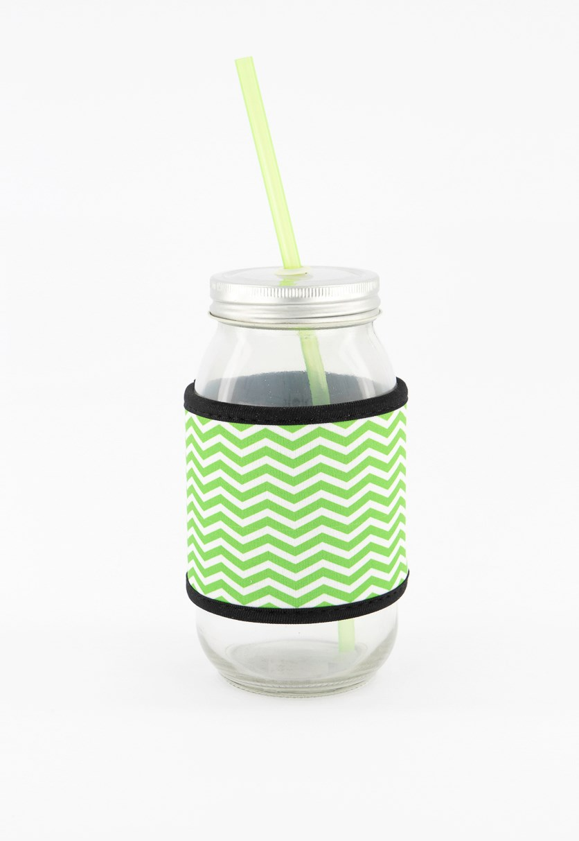 25 Oz Glass Drinking Jar With Colored Straw, Green