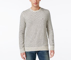 Tommy Hilfiger Men's Geometric Crew-Neck Sweater, Seedpearl