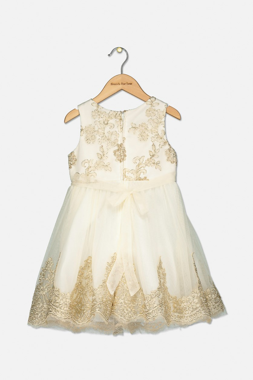 Embroidered Bodice Party Dress, Gold