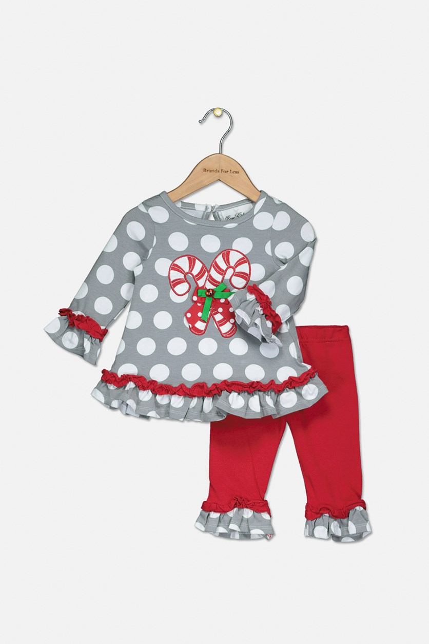 Baby Girls 2-Pc. Candy Cane Top & Leggings Set, Grey/Red