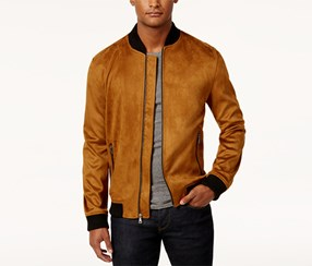 Inc Men's Zander Faux Suede Bomber Jacket, Camel