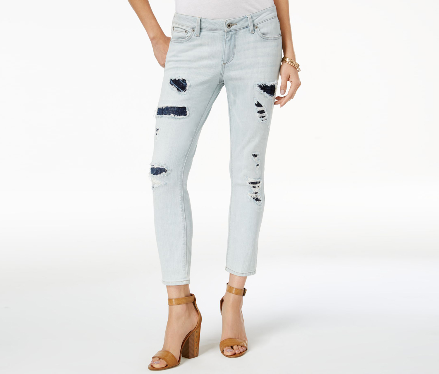 Lucky Brand Lolita Ripped & Repaired Ankle Skinny Jeans, Light Blue