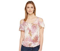 Lucky Brand Women's Printed Cold-Shoulder Top, White/Purope