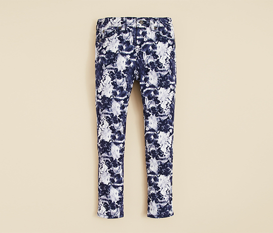 7 For All Mankind Girls' Floral Print Skinny Jeans, Indigo