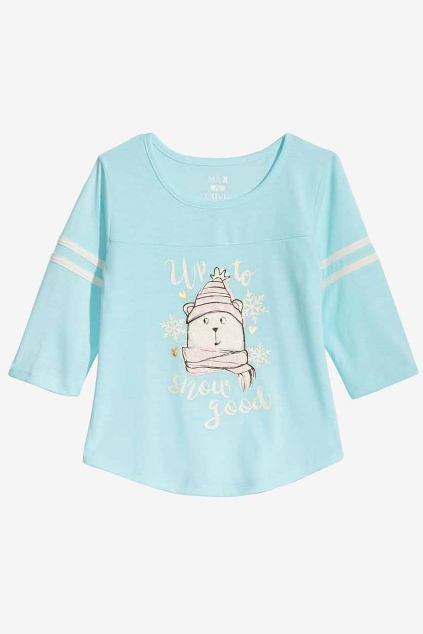 Big Girls Graphic Pajama Top, Aqua