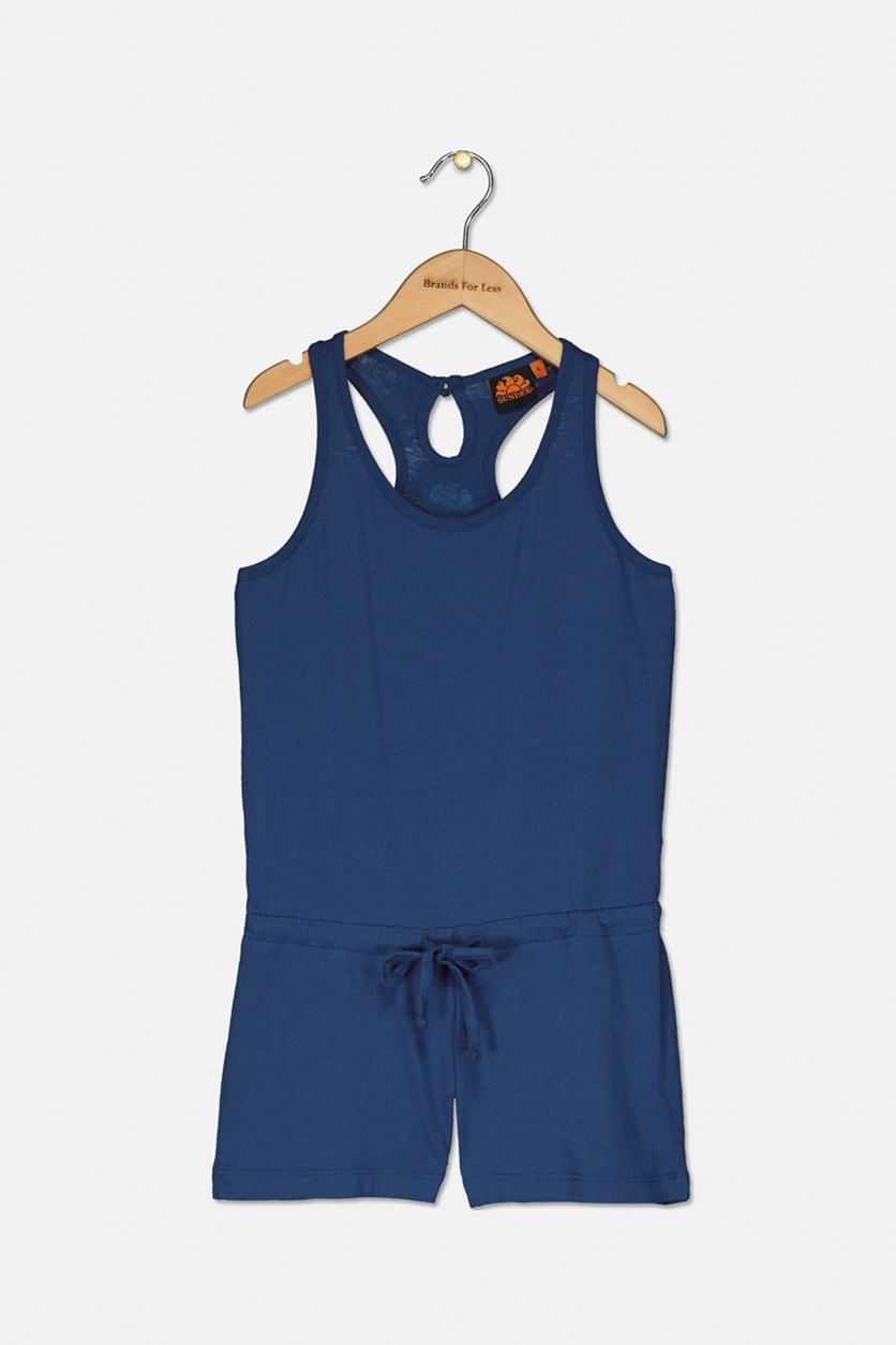 Kids Girl's Sleeveless Romper, Navy