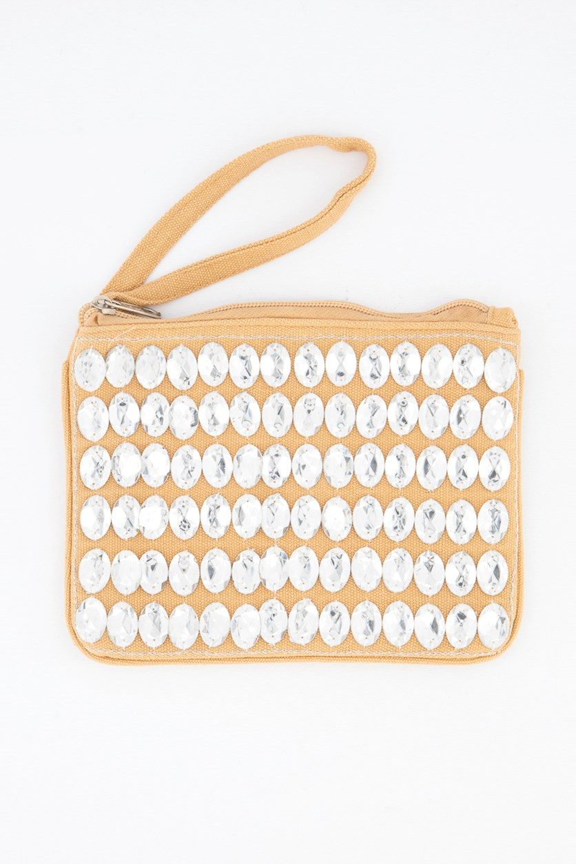 Women's Rhinestone Clutch Bag, Tan