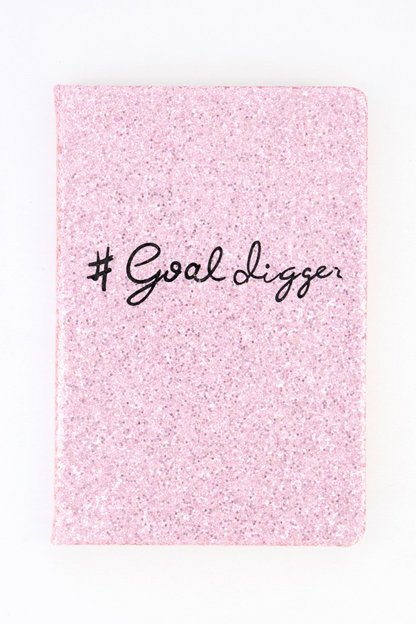 Goal Digger Notebook, Pink/Black/White