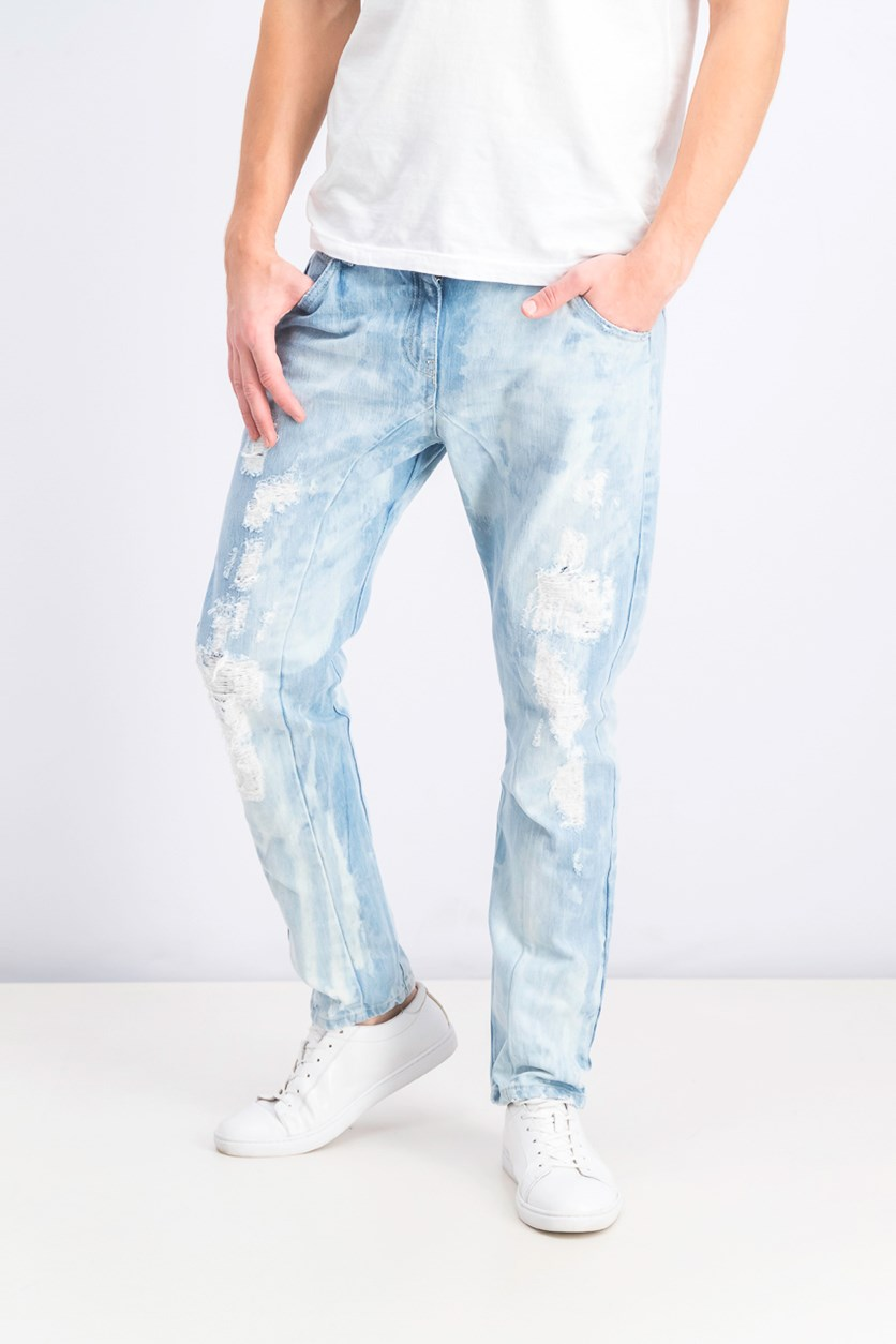 Men's Washed Ripped Jeans, Blue